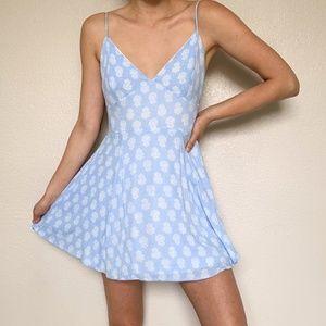 Lulu's Blue White Mini Skater Dress Small